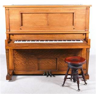 Milton Oak player piano w/ stool