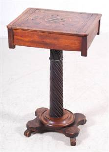 Oak inlaid sewing stand