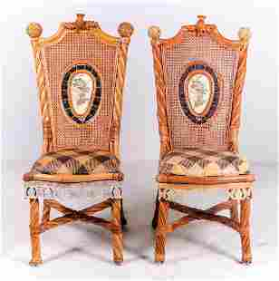 Pair Mackenzie Childs Bamboo and resin side chairs