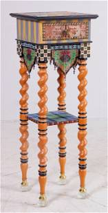 Mackenzie Childs paint decorated lamp table
