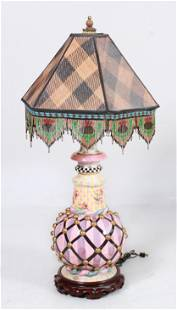 Mackenzie Childs paint decorated porcelain table lamp