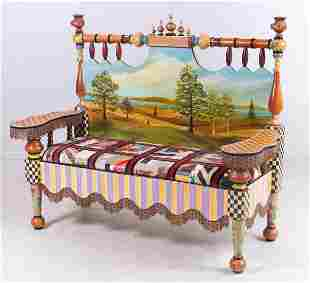 Mackenzie Childs Paint Decorated settee