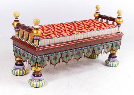 """Mackenzie Childs paint decorated """"Ridiculous"""" bench"""