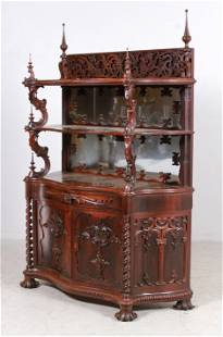 Rococo Carved Rosewood Serpentine Etagere