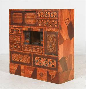 South Asian Parquetry Inlaid Valuables Cabinet