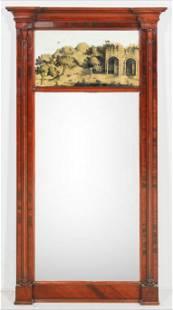 Mahogany Sheraton Eglomise wall mirror