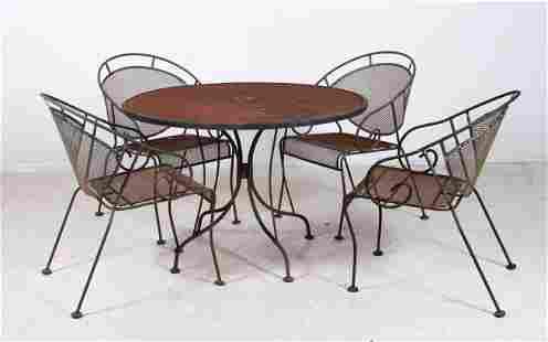 (5) pc Woodard wrought iron mesh patio dining set