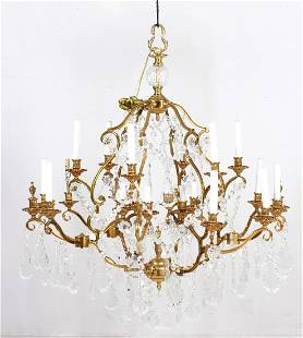 French style gilt metal and prism hanging chandelier