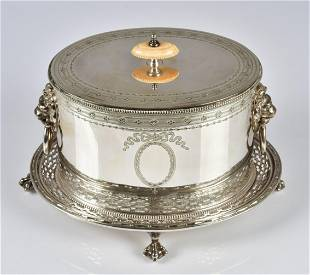 Oval Elkington & Co Plated Silver Biscuit Box