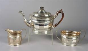 3 Pc English Georgian Sterling Silver Tea Set, 1807