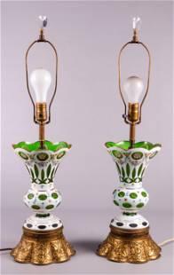 Pair of Bohemian Glass Vase Table Lamps