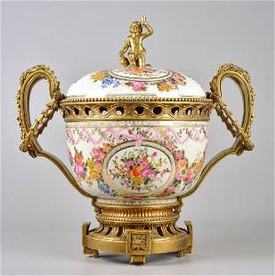 United Wilson Porcelain and Bronze Covered Urn