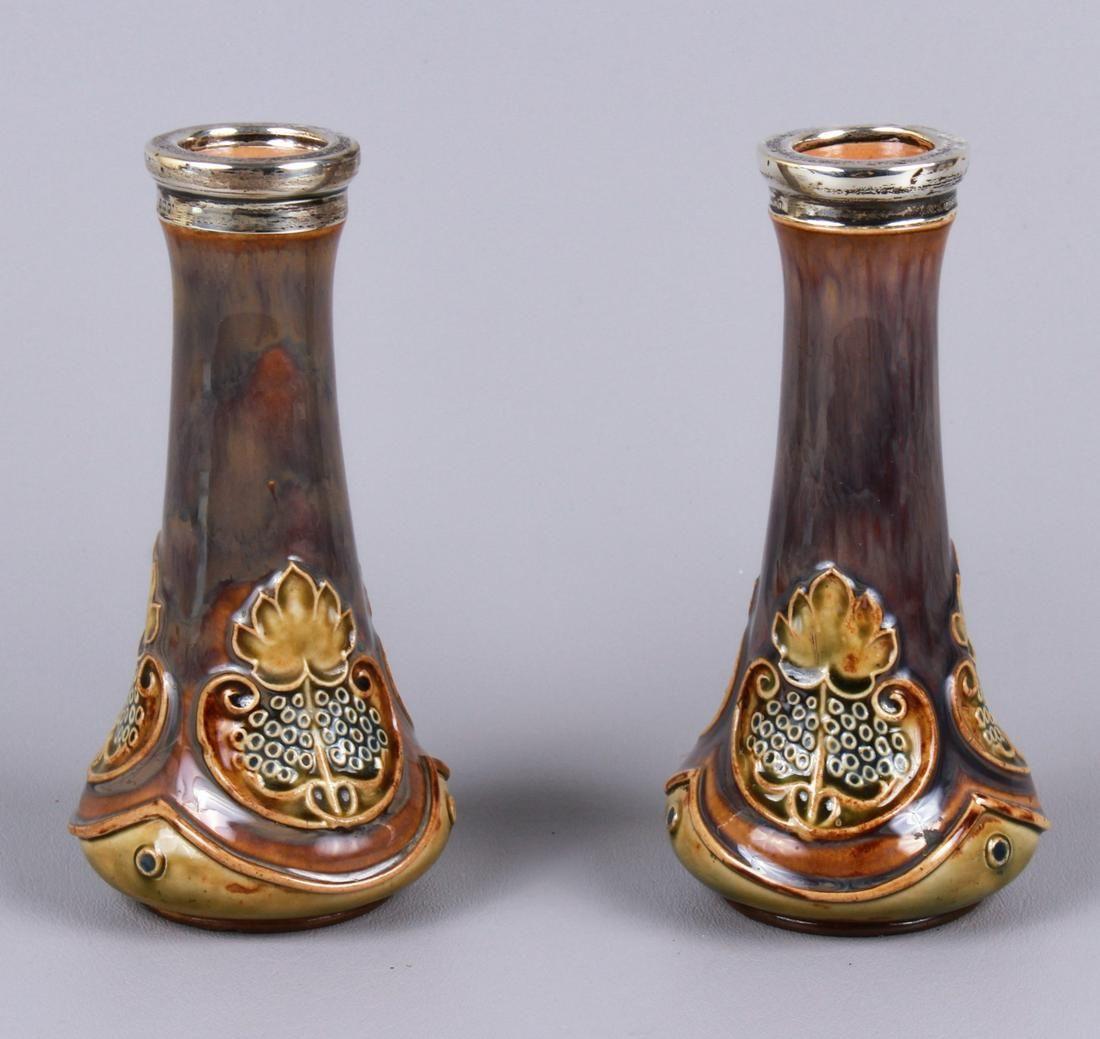 Royal Doulton Silver Rimmed Stoneware Vase Pair