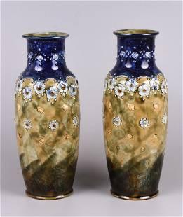 Royal Doulton Emily Welch Stoneware Vase Pair