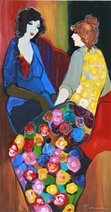 Itzchak Tarkay Painting of (2) Seated Women