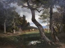Francois Auguste Ortmans large pastoral landscape