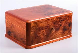 Mark Cross Burl Wood Jewelry Box