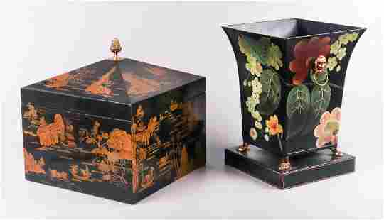 Maitland Smith Lacquered Caddy and Jardiniere