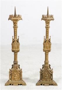 Pair of Gilt Bronze Gothic Candlesticks