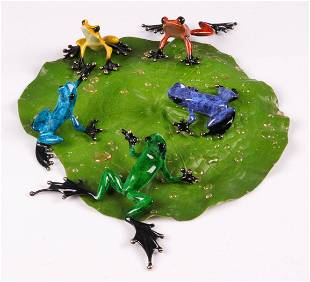 (5) Tim Cotterill Enamel Bronze Frog Figures