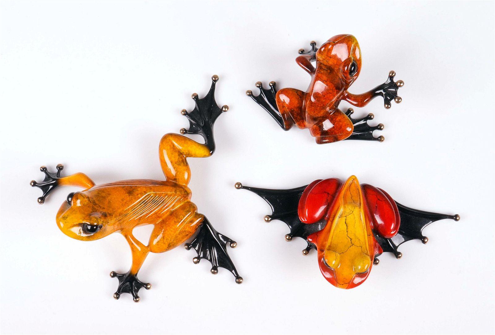 (3) Tim Cotterill Enamel Bronze Frog Figures