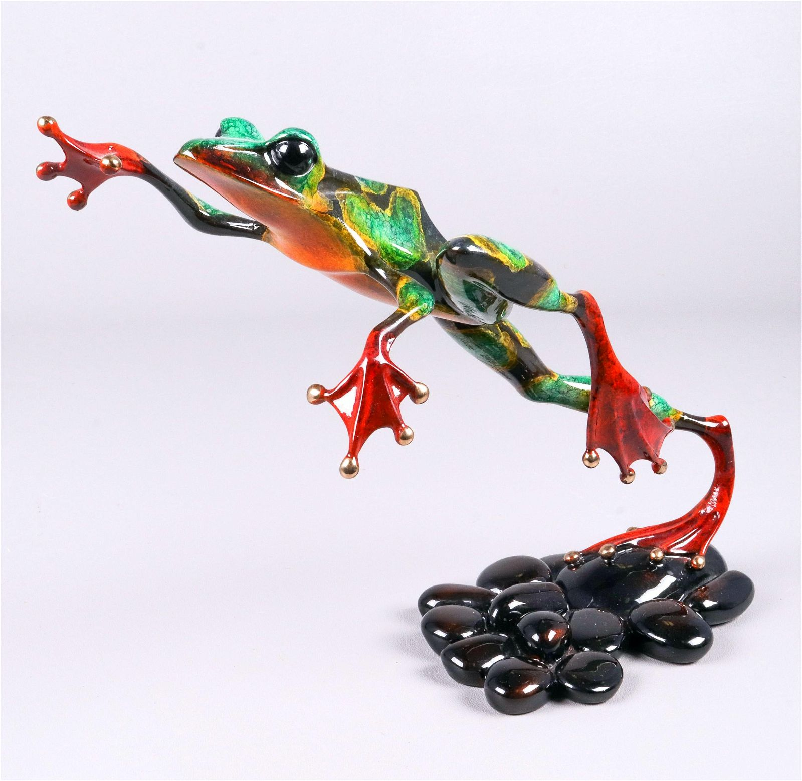 Tim Cotterill Enamel Bronze Leap Frog Figure