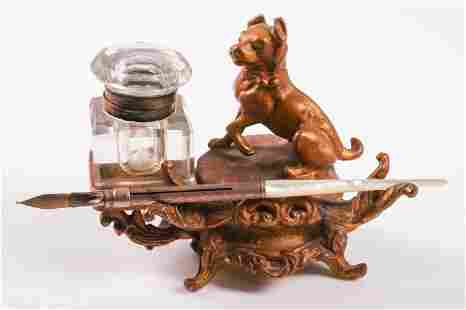 Gilt Bronze Figural Ink Stand