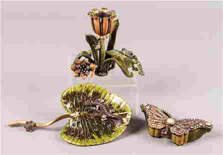 (3) Jay Strongwater Trinket, Candlestick and Ornament