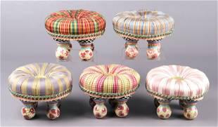(5) Mackenzie Childs Miniature Stools