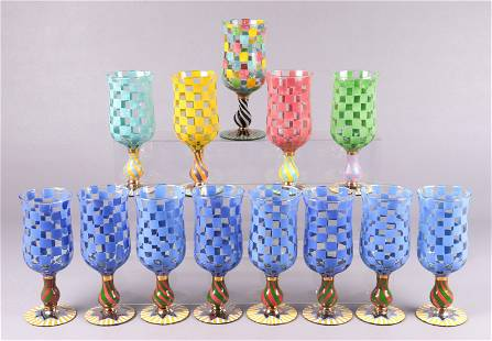 (13) Mackenzie Childs Circus Water Goblets