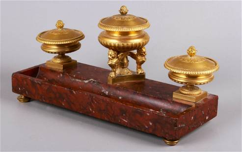 19th C. French Gilt Bronze and Marble Desk Stand