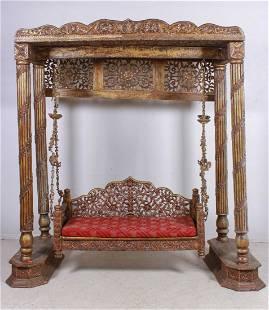 Indian 18/19th c Carved Hardwood Jhula or Jhoola