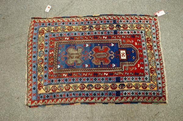 3: 3.7 x 5.4 Caucasian prayer rug, scattered wear