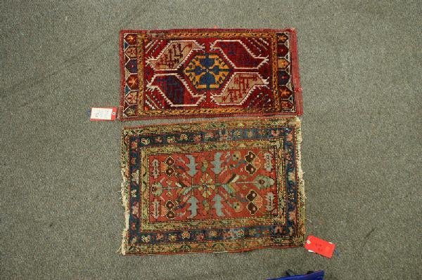 7: (2) throw rugs, 2.2 x 2.10 Heriz, some losses,1.8 x