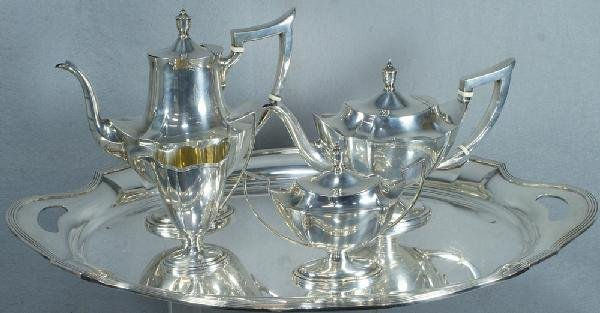 25: 4 pc Gorham sterling silver Plymouth pattern teaset