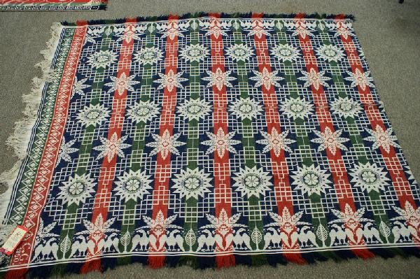 16: 1850 Four-color coverlet, snowflake design with eag
