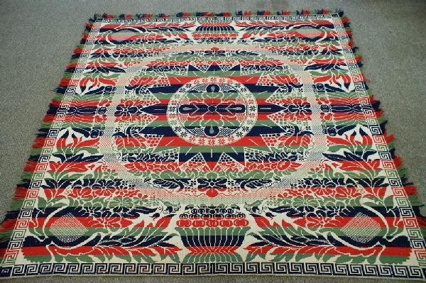 17: Four-color coverlet, tulip pattern with Greek key b