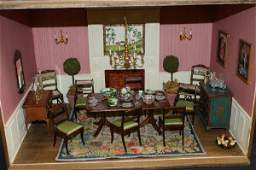 18: Diorama of a formal dining room with period style f