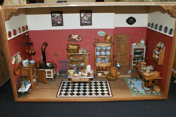 20: Diorama of a kitchen interior fitted with miniature