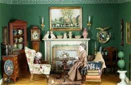 21 Diorama of a parlor interior decorated with miniatu