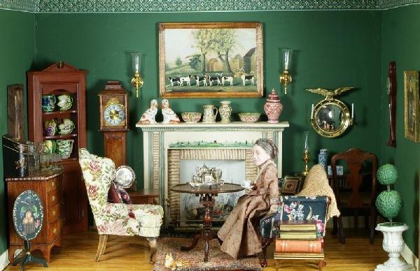 21: Diorama of a parlor interior decorated with miniatu