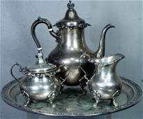 14: 4 pc Gorham Strasbourg pattern sterling silver teas