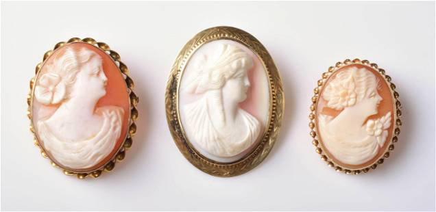 (3) Yellow Gold Cameo Brooches