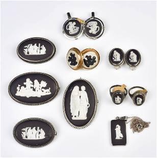 (10) Pc Black Wedgwood Jewelry Group