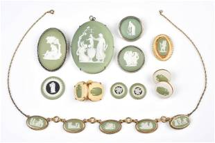 (12) Pc Olive Green Wedgwood Jewelry Group