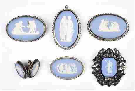 (6) Pc Neo-classical Blue Wedgwood Jasperware
