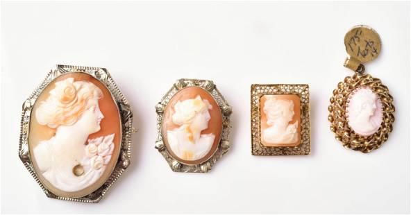 (4) Gold Cameos W/Ornate Frames