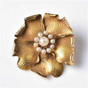 14K YG Flower and Pearl Pin