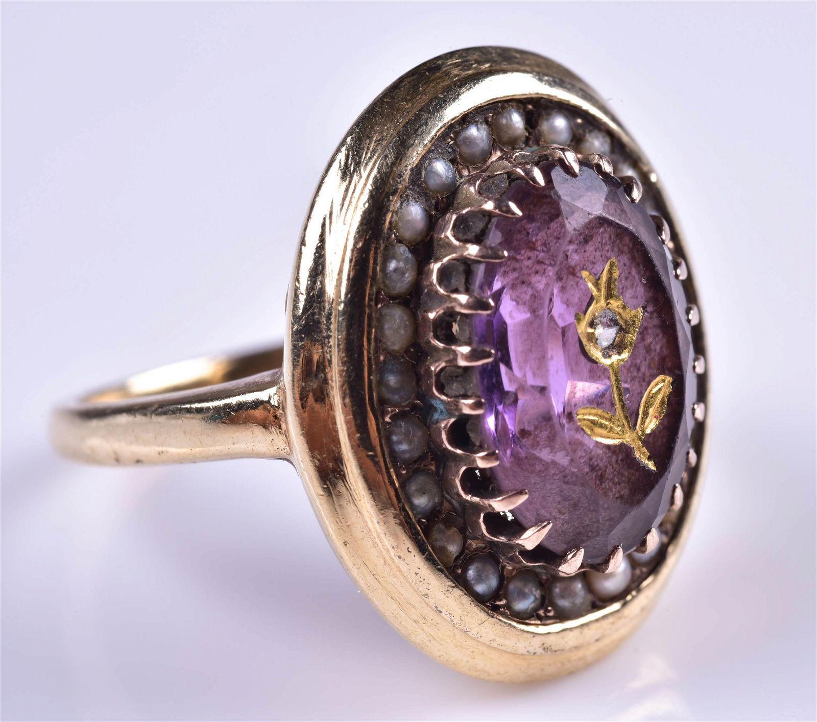 14K YG Intaglio Amethyst Ring