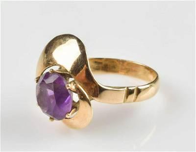 14K YG Amethyst Ring